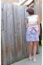 pink vintage skirt - beige modcloth top
