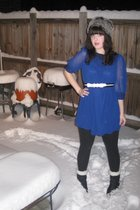 blue modcloth dress - gray Target hat - modcloth belt - black vintage boots