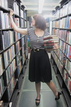 black vintage skirt - silver modcloth shirt - vintage belt