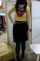 yellow American Apparel t-shirt - black skirt - black modcloth tights - red modc