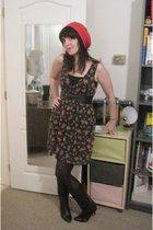 green ModClothcom dress - black tights - black vintage boots - pink vintage hat