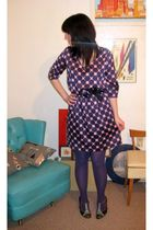 purple Collective Concepts - blue modcloth shoes - purple DKNY tights