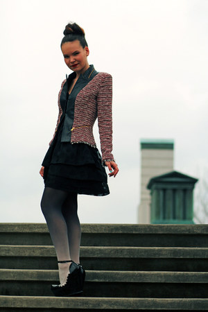 Zara blazer - Urban Outfitters dress - Topshop tights - GoJane wedges