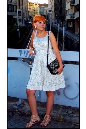 beige new look dress - beige Atmosphere shoes - black vintage purse