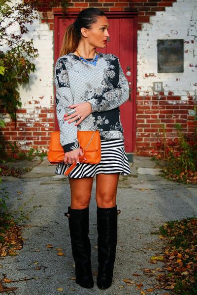 Mango sweatshirt - Choies boots - Forever 21 skirt