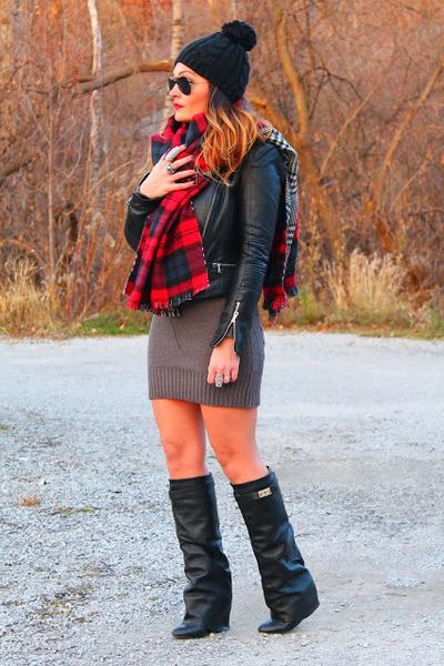 Zara jacket - Choies boots - Zara scarf