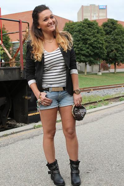 urban behavior boots - Zara blazer - H&M shirt - Guess shorts