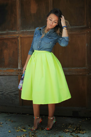 Choies skirt - TNA shirt - Aldo bag - London Trash heels
