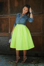 Choies skirt - TNA shirt - Aldo bag - London Trash heels