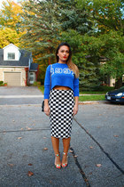 Forever 21 skirt - Forever 21 sweater - London Trash heels