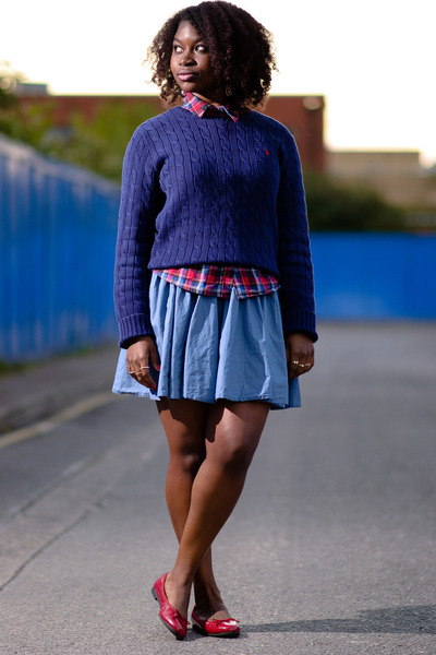 cable knit Ralph Lauren sweater - vintage shirt - circle H&M skirt