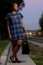 Blue-h-m-jacket-plaid-tk-maxx-dress-tote-zara-bag-bamboo-flats