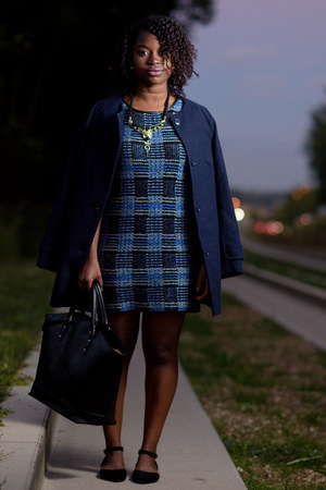 blue H&M jacket - plaid TK Maxx dress - tote Zara bag - Bamboo flats
