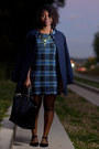 Plaid-tk-maxx-dress-blue-h-m-jacket-tote-zara-bag-bamboo-flats