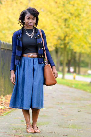 denim midi Primark skirt - tan Zara bag - striped Topshop jumper