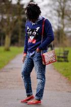 navy cat asos jumper - boyfriend jeans asos jeans - leopard print Matalan bag