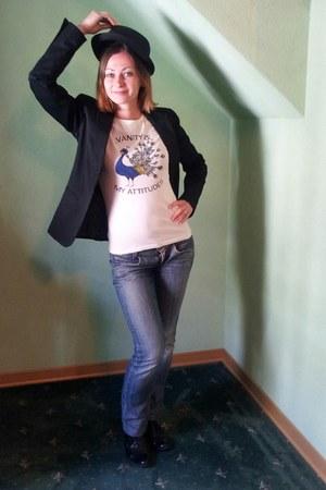blue Miss Sixty jeans - black Zara blazer - white Motivi t-shirt