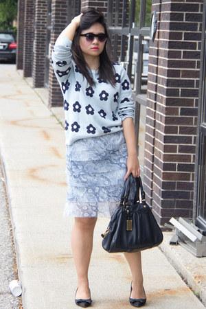 light blue flower print Joe Fresh sweater - sky blue Joe Fresh skirt
