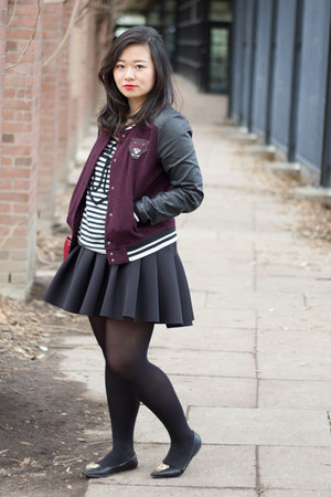 maroon varsity H&M jacket - white stripes Joe Fresh shirt - black H&M skirt