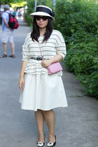 white stripes Anthropologie sweater - white midi H&M skirt