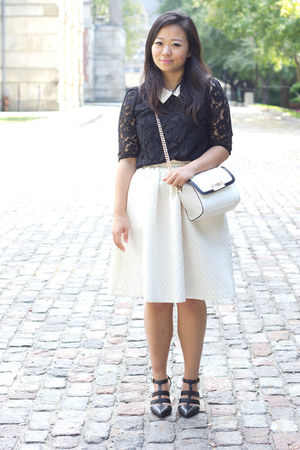 white midi hm skirt - black Aldo pumps