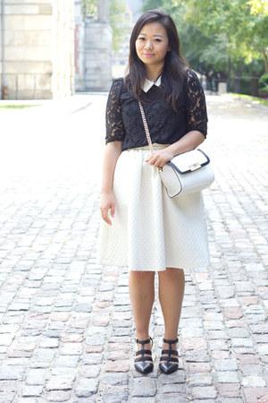 white midi hm skirt - black Aldo pumps