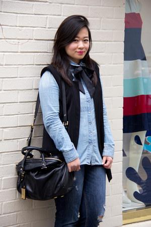 blue dark wash hollister jeans - light blue chambray hm shirt