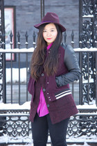 fedora burgundy Topshop hat - H&M jacket - Equipment blouse
