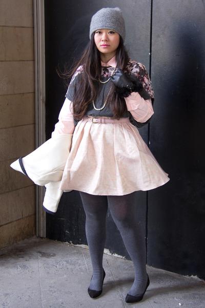 silver beanie Zara hat - bubble gum pastel stripe JCrew shirt