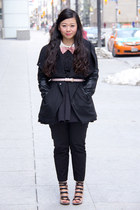 black mendocino coat - black lace Haightand Ashbury top