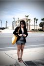 Black-thirfed-blazer-gray-target-brown-bakers-shoes-gold-victorias-secret-