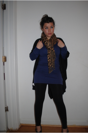 purple H&M dress - black Forever 21 tights - Walmart scarf