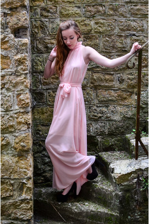 light pink maxidress romwe dress - black h&m divided heels