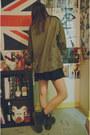 Black-old-leather-dr-martens-boots-forest-green-vintage-jacket