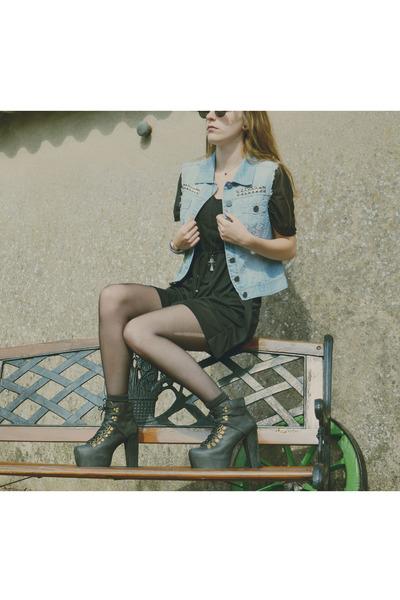 black black H&M dress - sky blue denim jacket DIY jacket