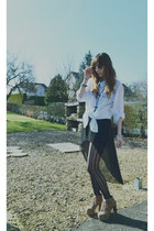black vintage sunglasses - white H&M shirt - black Zara skirt