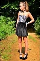 silver lace corset corset story top - black velvet skirt American Apparel skirt