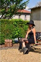black old leather Dr Martens boots - black black asos dress