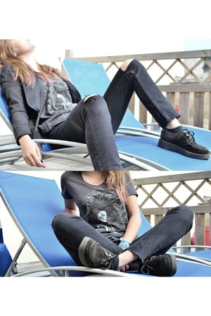 black creepers Underground shoes - black ripped H&M jeans - black Zara blazer