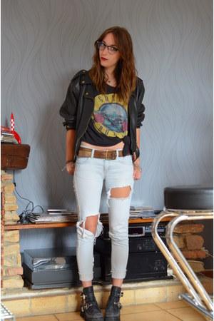 black coltrane Jeffrey Campbell boots - sky blue destroy Zara jeans
