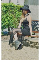 black Dr Martens boots - black asos dress - black vintage hat