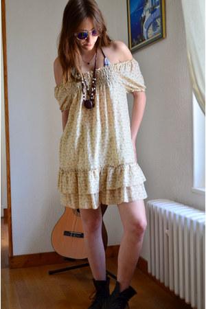 black Dr Martens boots - mustard boho flowers vintage dress
