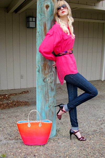 hot pink Victorias Secret bag - navy alloy jeans