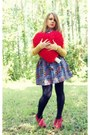 Mustard-thirfted-sweater-black-rue21-tights-navy-forever21-skirt