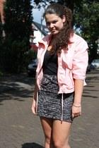 Bershka jacket - printed pencil H&M skirt - black strappy Zara heels