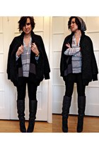 black skinny jeans Zara jeans - dark gray oversized coat coat