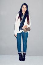 black booties Barbara Bui boots - denim J Brand jeans - scarf Burberry scarf