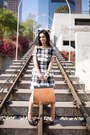 Plaid-karen-millen-dress-zara-bag-black-leather-mle-heels