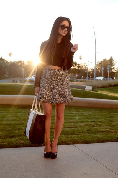 faux leather Made top - tweed Zara blazer - Rebecca Minkoff bag - Zara skirt