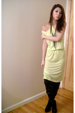 yellow Alexander Wang dress - black thigh high shoes